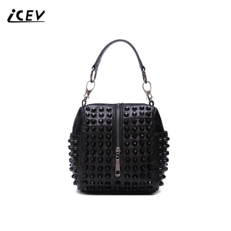 ICEV New Arrival Genuine Leather Handbags Sheepskin Women Leather Handbags Rivets Patchwork Fashion Ladies Top Handle Bag Bolsa<br>