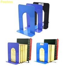 Peerless 1 Pair Portable Simple Life Foldable Metal Bookends Shelf Holder Library School Office Stationery Supply(China)