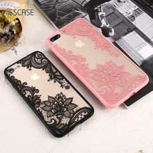 KISSCASE Phone Case For iPhone 5S iPhone 7 Plus Case Luxury Girly Lace Flowers TPU Cover For iPhone 6 6s Plus iPhone 7 Case(China)