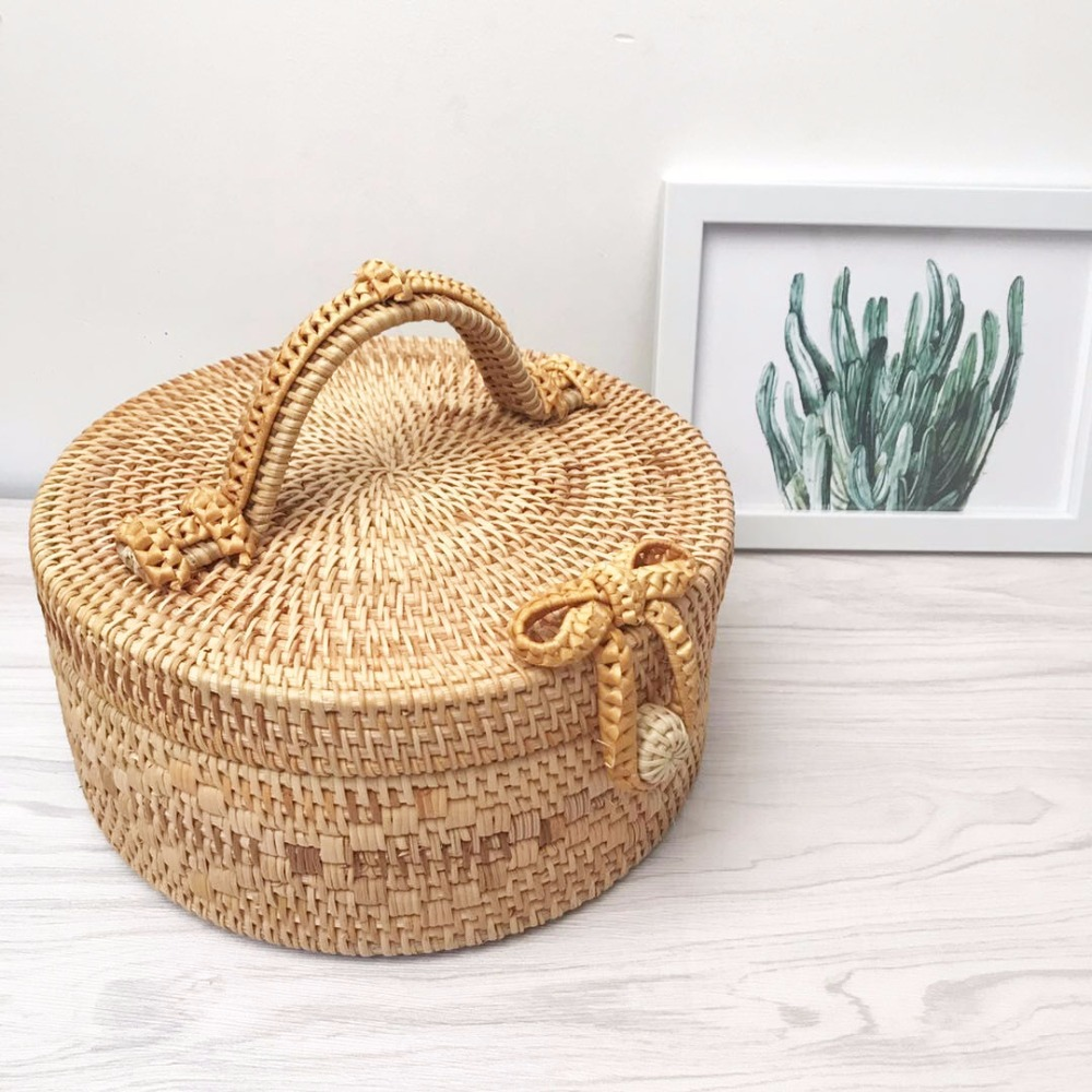 2018 New INS Bali bag summer Paris Island beach woven bag handbag Round Rattan Straw Bag Bohemian Beach Circle Bag<br>