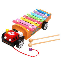 Drag Tractor Knocking Piano Music Instrument Toys Wooden Learning Gifts(China)