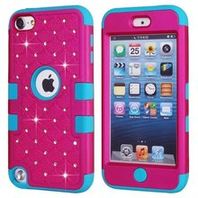 Hybrid Bling Diamond Crystal Case 3 in 1 High Impact Heavy Duty Hard Rugged Rubber Case Cover For iPod Touch 5 5th Gen Case