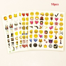 MOOBIFFY 10PCS sheet(480stickers ) Cute Lovely 480 Die Cut Emoji Smile Sticker For Notebook Message High Vinyl Funny Creative(China)