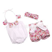 Wholesale NEW EMS DHL Free baby girls 3pc Petals Neck Suit Romper + Pants+ Headband Baby Clothing Infant Wear(China)