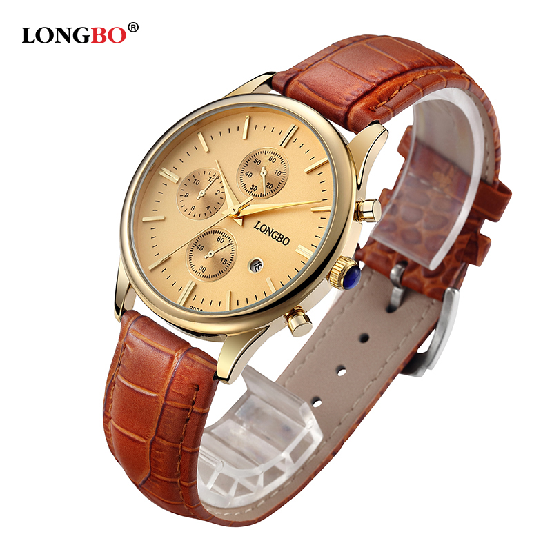 LONGBO Brand Lovers Watch Retro Gold Case Leather Strap Foamposites Calendar Waterproof Quartz Wristwatches Men moda mujer 80061<br><br>Aliexpress