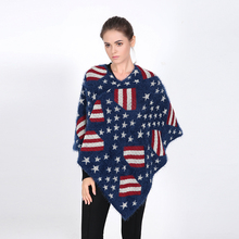 2016 Luxury Brand Winter for Women Poncho US Flag Blanket Lady Thicken Shawl Cape Mohair Scarf Oversized Sweater Cardigan Jumper