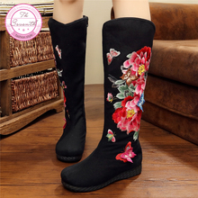 Butterfly Peony High Boots 2017 New Canvas Flower Embroidery Women Boots Single Boots