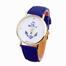 Watch Women Watches Famous Reloj Mujer Anchor watch Simple Relogio PU Leather Female Dress Clock Gift girls(China)