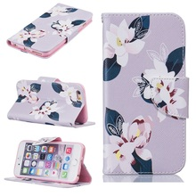 For iPhone 6 6s Plus Case Pretty Pattern Printing Wallet Stand Leather Case for iPhone 7 7 Plus  - Charming Flowers / Grey