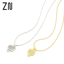 ZN Gold Silver Necklace Minimalist Desert Prickly Pear Cactus Pendant Necklace Charm Fashion Bridesmaid Gift(China)