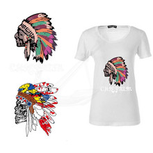Personalized Indian savages Avatar stickers 24*28CM iron on patch T-shirt Sweater thermal transfer paper Patches for clothing