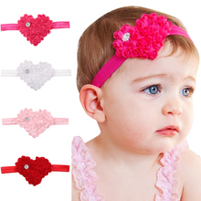 1 PC Trendy Lovely Girls Elastic Hairband Crytral Heart Headband Headwear Hair Band Accessories H047