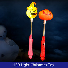 12pcs Halloween style supplies toys pumpkin and skull LED flash shook sticks kids night light plastic toy photo props(China)