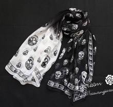 180x110cm  New Brand 100% Silk Scarf Printing Skull Scarves For Women Print Designer Silk Scarf High Summer Shawl S202