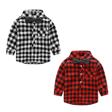 Handsome Boys Children Gentleman Style Plaid Tops Fashion Boys Long Sleeve Shirt Red and Black Grid Cloth Autumn Casual Blouses(China)
