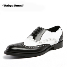 US 6-11 Men Retro Genuine Leather Black and White Fretwork Pointed Toe Oxfords Wing Tip Brogue Formal Dress Shoes(China)