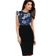 New Patchwork Women Elegant Dress Print Dot Sheath Bodycon Slim Office Work Business Dresses Short Sleeve Ladies Clothes