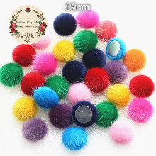 15mm Mix Colors 50pcs Hairy Velvet Fabric Covered Round Chunky Button Flatback DIY Handmade Buttons Scrapbooking,BK1007