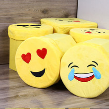 1Pc Hot 28X28cm Foldable Storage Foot Stool Children Pouffe Bedroom Home Chair Kids Cartoon Smiley Non-woven Seat Box Fashion@GH(China)