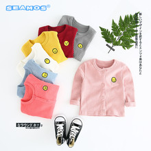 new arrive baby coat girls sweater autumn clothing cartoon facial expression embroidery coat boy NZ249(China)