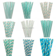 Hot 25pcs/lot 15styles blue drinking paper straws for kids birthday party wedding christmas decoration chevron event supplies