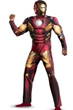 High Quality Free Shipping  Muscle Ironman Iron Man Cosplay Costumes Full Body Carnival Costumes For Adult  Supply