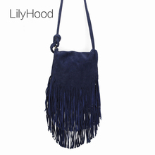 2017 Women Genuine Leather Suede Small Shoulder Bags Music Festival Fringed Tassel Boho Ibiza Rock Gothic Soft Messenger Bags