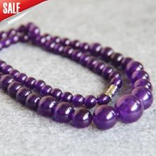 LiiJi Unique 6-14mm Purple Amethysts Color Jaspers jades Beads Necklace 18inch