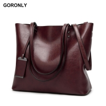 GORONLY Brand New Leather Tote Bag Women Handbags Designer Large Capacity Shoulder Bags Fashion Lady Purses Crossbody Bag Bolsas(China)