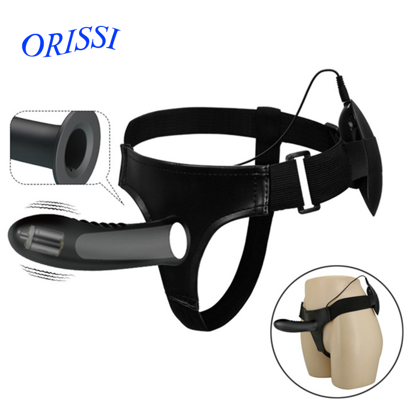 ORISSI Silicone Strap On Harness Vibrator For Couples Hollow Design Men Wearable Vibrating Penis Adult Sex Toys Sex Product<br>