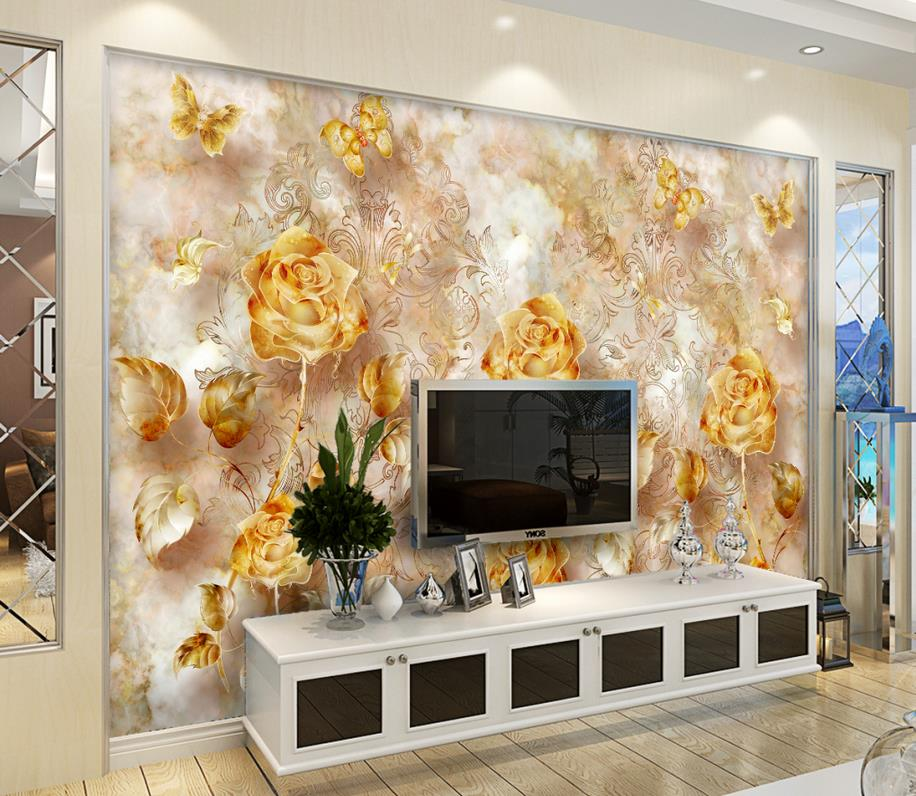 European retro gold rose pattern butterfly wallpaper bathroom custom photo wallpaper Home Decoration<br><br>Aliexpress