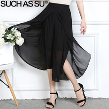 SUCH AS SU Brand 2017 New Summer Chiffon Women Wide Leg Pants Black Sexy Ankle-Length High Waist Trousers Elastic Culottes Pants