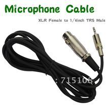 FREE SHIPPING 4 pcs/LOT 9.8 foot Mic Cable Patch Cords - XLR Female to 3.5mm connector TRS Male