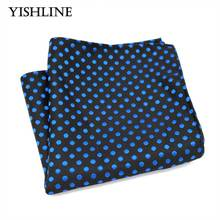 F217 Classic Men's Silk Handkerchief Hanky Jacquard Woven Black Blue Polka Dot Pocket Square 25*25cm Wedding Party Chest Towel(China)