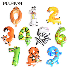 1pc Animal Foil Balloons Kawaii Number Balloons Kids Gift Study Digital Supplies Children's Day Happy Birthday Party Decorations