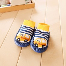Cartoon Kids Toddler Baby Boots Slipper Socks Baby Gift Kids Indoor Floor Socks Leather Sole Non-Slip Thick Towel Socks(China)