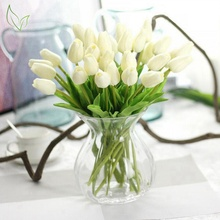 Free shipping tulips for home decoration flores Artificial Flowers bouquet Cheap silk PU Real Touch Fake flowers Wedding Flowers(China)