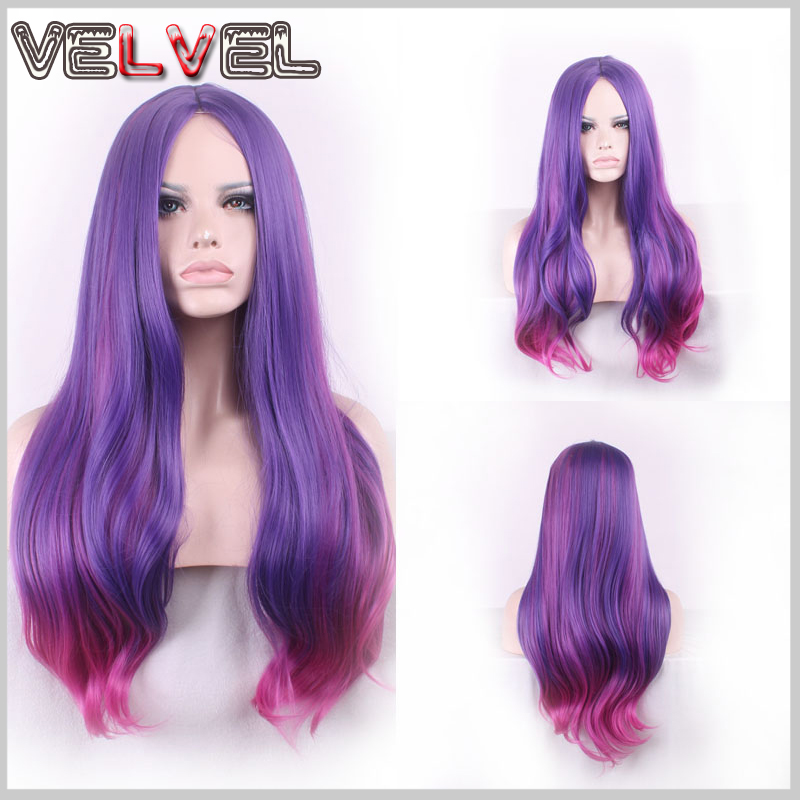 Fashion Heat Resistant Purple Mixed Rose Red Two Tone Gradient Wig Lady Wigs Long Straight High Quality Hair Wigs+Free wig cap<br><br>Aliexpress