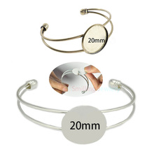 10pcs Fit 20mm Cabochon Adjustable Round Pad Bezel Brass Cuff Bracelet Settings Blank Bangles Base For DIY Jewelry Findings