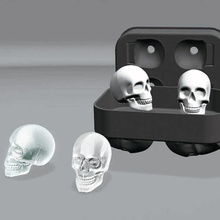 3D Skull Head Ice Cube Mold Halloween Whisky Wine Silicone Molds Home Bar Party Silicone Trays Ice Cream  Maker Tools
