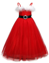 Fancy baby dress winter Red Christmas party clothes for kids girl costume Wedding Bridal Children dresses for Events Occasion(China)