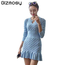 Women Winter Sexy Dress Long Sleeve Thicken Party Slim Fit Package Hip Hedging Knitted Sweaters Dresses For women Hot Sale SY059(China)