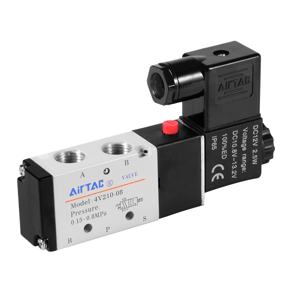 DC12V 5-Way 2-Position 1/4 1/8 Solenoid Valve Electric Pneumatic Control BI496<br><br>Aliexpress