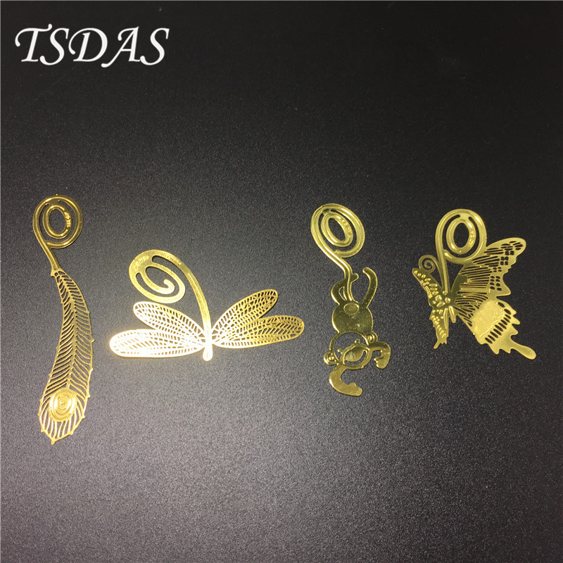 Wholesale 20 pcs/lot Cute Clover Monkey Feather Metal Bookmarks For Books Kawaii Leaf Metal Bookmark Clip Gift School Supplies(China (Mainland))