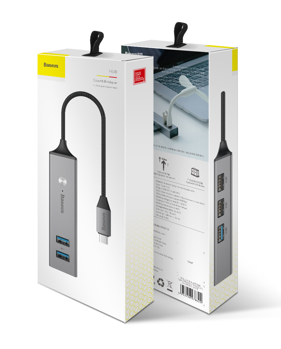 Baseus 5 Ports USB C HUB to USB 3.0 OTG USB HUB Splitter High Speed 5Gbps For Macbook Computer Laptop Type C HUB USB 2.0 Adapter 16