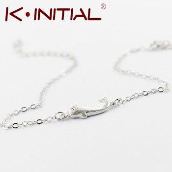 Kinitial 1Pcs 925 Silver Animal Fish Bracelets Bangle Small Whale Charm Chain Bracelets for Women Girl Birthday Gift Jewelry
