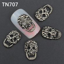 Blueness 10pc Black Alloy  3D Nail Art Skull Decorations With Rhinestones Alloy Nail Charms,Jewelry on Nail Salon Supplies TN707