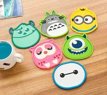 1 Piece silicone dining table placemat coaster kitchen accessories mat cup bar mug cartoon animal drink pads