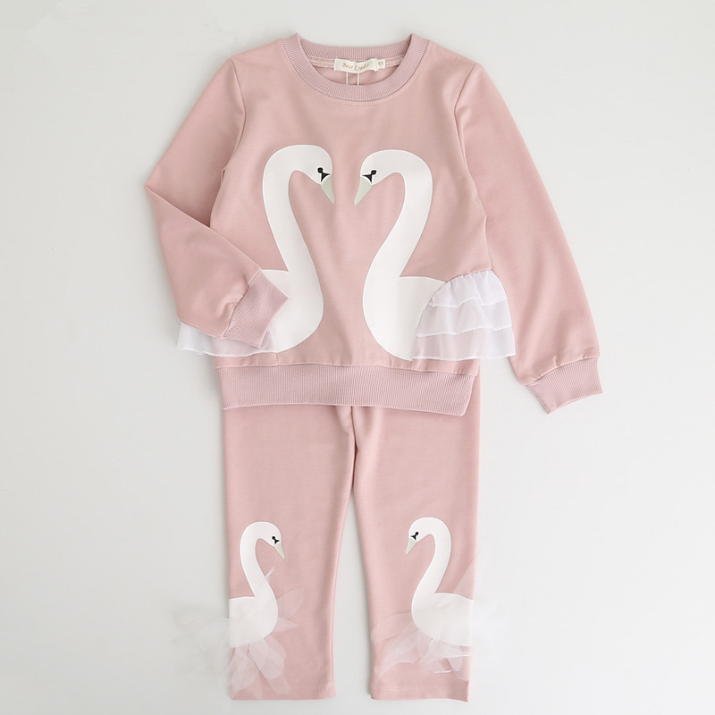 URFine Girls Clothing Sets 2017 New Autunm Sets Children Clothing Lovely Swan Lace Design Sweatshirts+Pants Suit For 3-7Y<br>