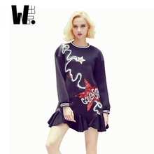 2017 women new hip hop streetwear fashion leisure winter dress personality star paillette long sleeved mini dress black